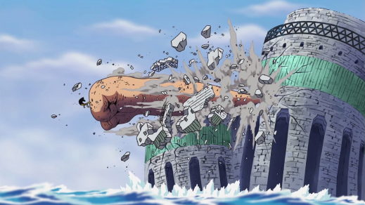 Luffy busting out a fortress with Gear 3rd.