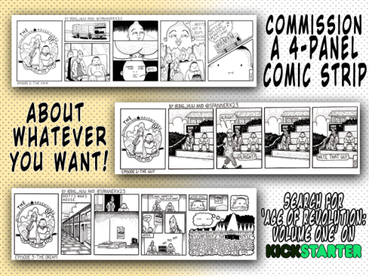 kickstarter age of revolution cosmic anvil new reward tiers pledge comic book comic strip art commission
